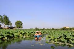 慢慢地驾驶在水中的游船,在公园 免版税库存图片