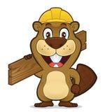 慢慢移动戴建筑帽子和拿着木头板条  向量例证