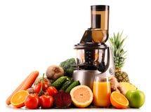 慢榨汁器用有机水果和蔬菜在白色 免版税图库摄影
