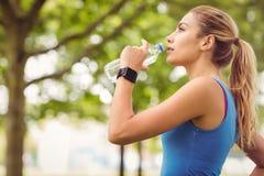 慢跑者妇女饮用水在公园 免版税库存照片