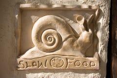 慢食物的通知单 库存图片