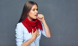 憔悴妇女痛苦咳嗽画象  免版税库存图片