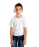 懊恼表达式被喂养的滑稽的孩子  免版税库存照片