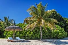懒人和伞在热带海滩在毛里求斯海岛 免版税库存照片