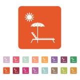 懒人象 Sunbed标志 平面 库存照片