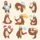 懒惰懒惰骨头sluggard动物字符另外姿势喜欢人的逗人喜爱的懒惰动画片密林哺乳动物传染媒介 免版税库存照片