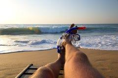 懒惰海滩潜水员 库存图片