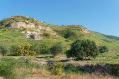 戈兰高地,以色列- 2018年3月31日:修道院和教会的Kursi国家公园印象深刻的遗骸 免版税库存照片