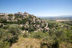 戈尔代中世纪小山顶镇  普罗旺斯 库存照片