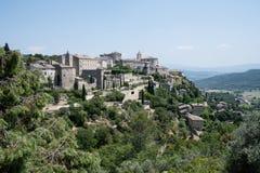 戈尔代看法,在Luberon,普罗旺斯,法国,电影的套 免版税库存图片