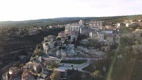 戈尔代空中寄生虫视图,标记了法国的多数美丽的村庄,栖息在岩石露出在横谷pla结束时 股票录像
