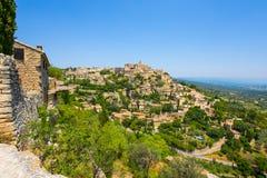 戈尔代,中世纪村庄看法在普罗旺斯,法国 免版税库存照片
