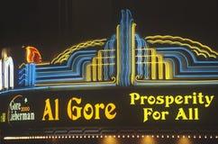 戈尔的总统在10月31日的集会或Lieberman 2000年在Westwood村庄,洛杉矶,加利福尼亚 免版税图库摄影