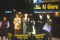 戈尔的总统在10月31日的集会或Lieberman 2000年在Westwood村庄,洛杉矶,加利福尼亚 免版税库存图片