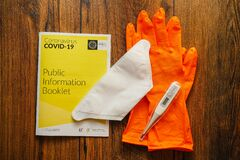 image photo : Galway / Ireland - 04/03/2020 Irish Health and service Coronavirus COVID - 19 booklet, thermometer, face mask and rubber gloves on