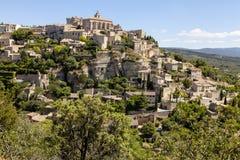 戈尔代-一个小山顶镇在法国 库存照片