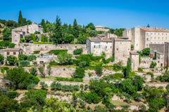 戈尔代中世纪村庄在南法国(普罗旺斯) 免版税库存照片