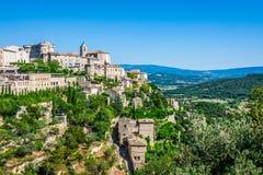 戈尔代中世纪村庄在南法国(普罗旺斯) 库存图片