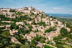 戈尔代古老美丽如画的小山上面村庄在普罗旺斯,法国 图库摄影