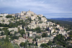 戈尔代,法国小山顶中世纪村庄  免版税库存图片