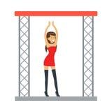 戈戈舞的舞蹈家性感的红色礼服跳舞的娱乐女孩在阶段,一部分的传染媒介夜总会系列的人  库存图片
