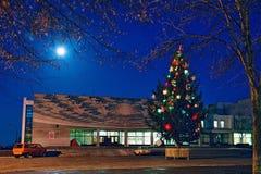 戈梅利,白俄罗斯, 2006年12月29日:圣诞节在宇航员大道的杉树在晚上 库存图片