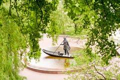 戈梅利,白俄罗斯, 2010年5月18日:对戈梅利的第一个移居者的纪念碑 图库摄影