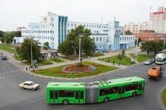 戈梅利,白俄罗斯, 2009年8月12日:街道Efremova的顶视图 免版税库存照片