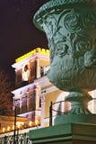 戈梅利,白俄罗斯, 2006年12月29日:鲁缅采夫Paskevich、宫殿和公园合奏,冬天风景宫殿塔  免版税图库摄影