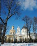 戈梅利,白俄罗斯, 2006年12月29日:鲁缅采夫Paskevich、宫殿和公园合奏,冬天风景宫殿塔  库存图片