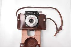 戈梅利,白俄罗斯- 2018年2月22日:摄制照相机SMENA制造的20世纪50年代的35 mm 免版税库存照片
