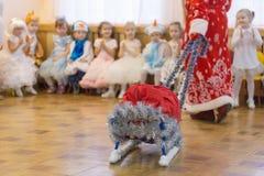 戈梅利,白俄罗斯- 2016年12月22日:新年孩子的` s假日在幼儿园 孩子3 - 4年 库存图片