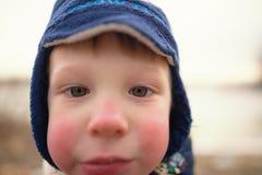 戈梅利,白俄罗斯- 12月11 :儿童在冬天远足的` s面孔 情感 库存照片