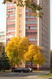 戈梅利,白俄罗斯- 10月03 2016年:在住宅高层建筑物的汽车停车处 库存照片