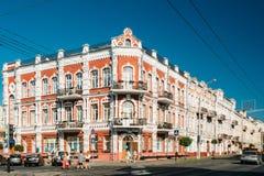戈梅利,白俄罗斯 老家19世纪的建筑学的例子在Sovetskaya街的 库存照片