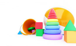 戏弄字母表立方体,海滩球,金字塔3D例证 免版税库存照片