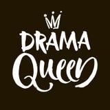 戏曲女王/王后黑白手字法题字,手写的诱导和激动人心的正面行情,书法vec 库存例证