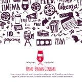 戏院与无缝的样式的节日海报在与电影工业属性的背景  摄影设计项目 免版税图库摄影