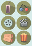戏院图标查出电影布景白色 免版税库存图片