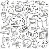戏院影片传统乱画象速写手工制造设计传染媒介 向量例证