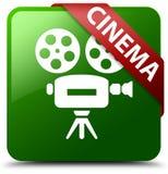 戏院摄象机象绿色正方形按钮 库存图片