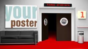戏院框架您插入的海报 免版税图库摄影