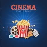 戏院电影传染媒介海报设计模板 玉米花, filmstrip,墙板,票 电影放映时间背景横幅 免版税库存照片