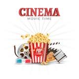 戏院电影传染媒介海报设计模板 玉米花, filmstrip,墙板,票 电影放映时间背景横幅 图库摄影
