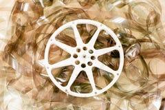 戏院电影卷轴和35 mm影片背景 图库摄影