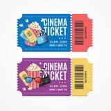 戏院电影票设置与元素 向量 向量例证