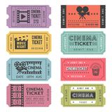戏院票模板  各种各样的戏院票传染媒介设计与摄象机和其他工具的例证的 向量例证