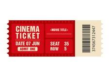 戏院票 电影在白色背景隔绝的票模板 皇族释放例证