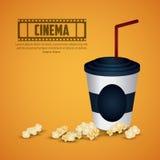 戏院设计 戏院在影片白色background.reel用玉米花和一份饮料的电影icon.items在白色背景 五颜六色的例证 向量例证