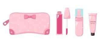 组成与化妆用品的袋子,例证 免版税图库摄影